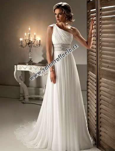 Antické svatební šaty na jedno rameno 555cc257e7