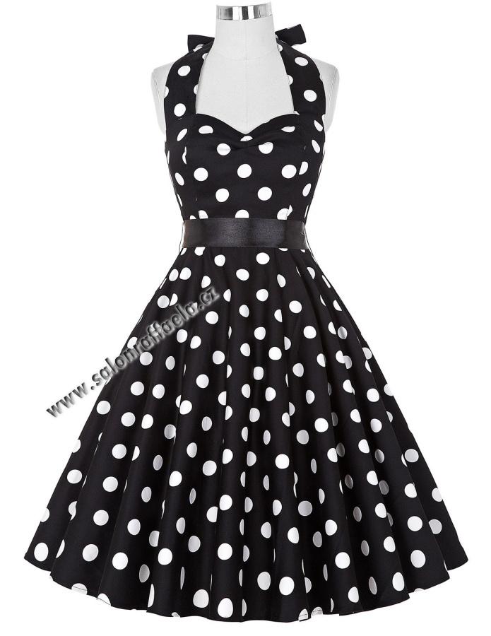 Černé retro šaty za krk s velkými bílými puntíky b3315d9b95b