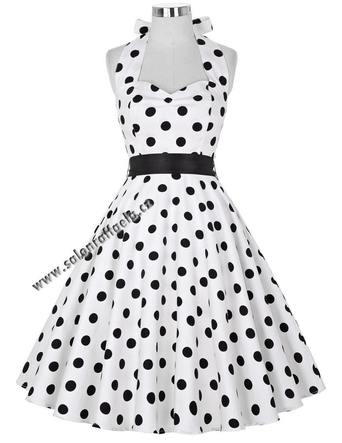 Bílé retro šaty za krk s velkými černými puntíky 0459364660