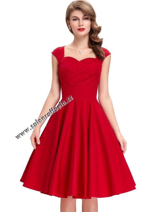 c59d11e1fdf2 Červené retro šaty s kolovou sukní a srdčitým výstřihem