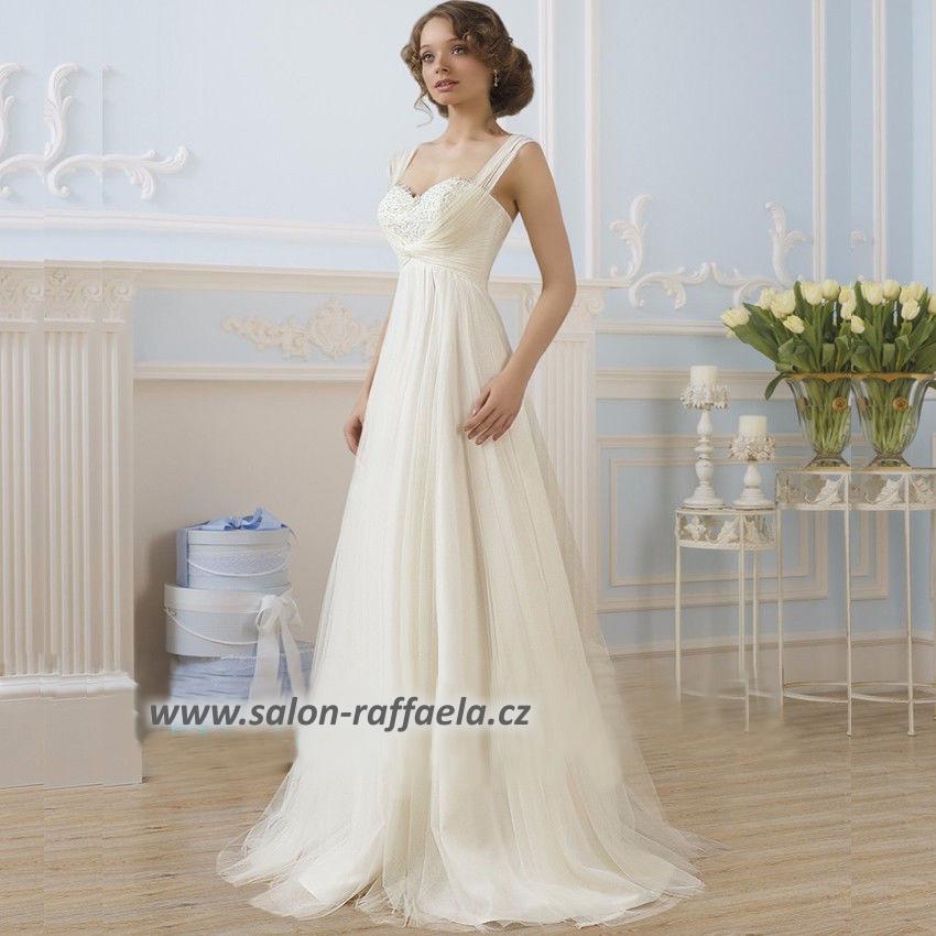Tylové svatební šaty s mírně rozšířenou sukní a ramínky a378e75700b