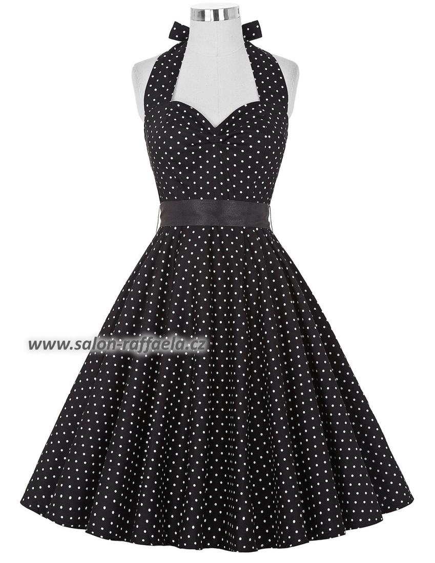 Bílé retro šaty za krk s drobnými černými puntíky bea20f88c8