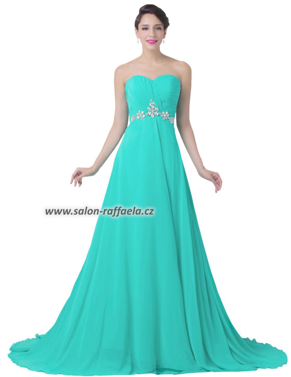 Dlouhé společenské šaty ve světle tyrkysové - vel. 42 XL f1d40f473f3