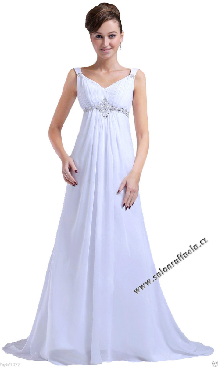 Antické svatební šaty s ramínky vhodné i pro plnoštíhlé nebo těhotné f018f324733
